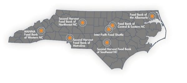 Figure 2. Map of the North Carolina food banks and the food reco